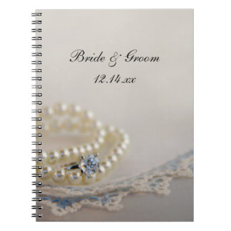 Pearls, Ring and Blue Lace Wedding Notebook