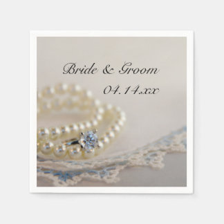 Pearls Ring and Blue Lace Wedding Paper Napkins
