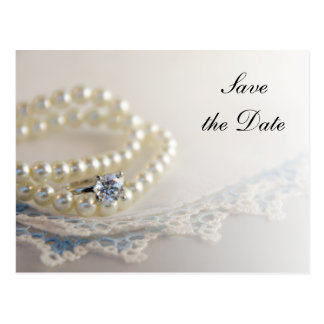 Pearls, Ring and Blue Lace Wedding Save the Date Postcard