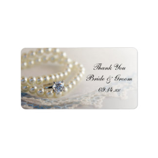 Pearls Ring Blue Lace Wedding Thank You Favor Tags Personalized Address Label