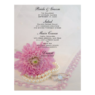 Pearls, Rings and Pink Lace Wedding Menu Flyers