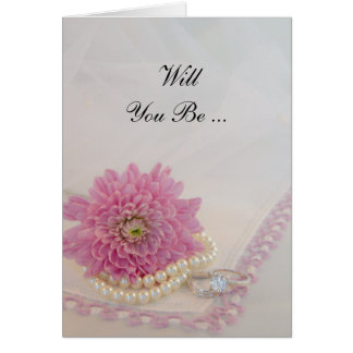 Pearls, Rings Pink Lace Will You Be My Bridesmaid Greeting Cards