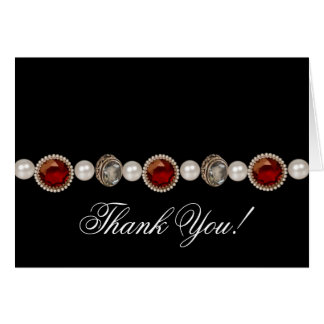 Pearls Ruby Red Gold Thank You Cards