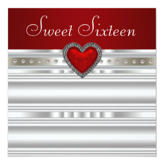 Pearls Ruby Red Heart Sweet Sixteen Birthday Card