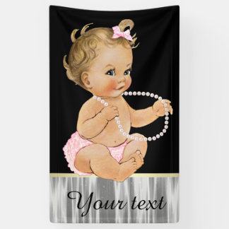 Pearls Ruffle Pants Girl Baby Shower Banner