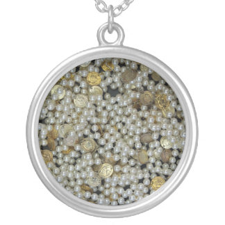 pearls silver plated necklace