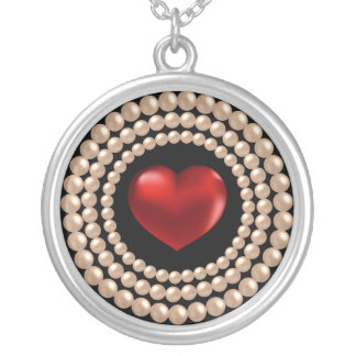 Pearls Strings and Heart Necklace