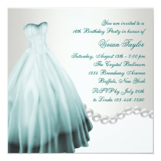 Pearls Teal Blue Sweet Sixteen Birthday Party Card