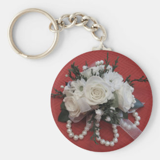 Pearls & White Roses Basic Round Button Keychain
