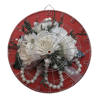 Pearls & White Roses Dartboard With Darts