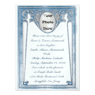 Pearly Blue - Photo (Wedding Invitation) Card