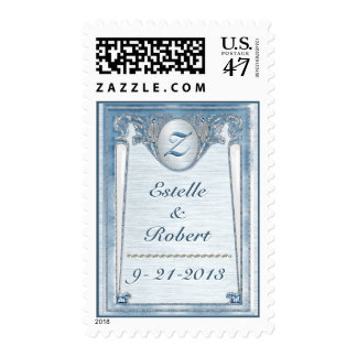 Pearly Blue Wedding - Save The Date - Personalized Postage