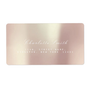 Pearly Champaign Pink Rose Gold Blush ADDRESS Label