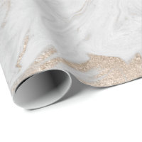 Pearly Ivory Gold Pastel White Gray Marble Glam Wrapping Paper