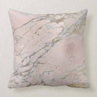 Pearly Pink Rose Gold Powder Brush Marble Throw Pillow