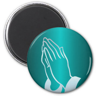 Pearly Praying Hands 2 Inch Round Magnet
