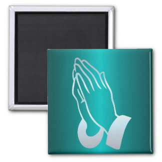 Pearly Praying Hands 2 Inch Square Magnet