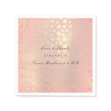 Beach Themed Pearly Rose Gold Blush Polka Dots Custom Name Napkin