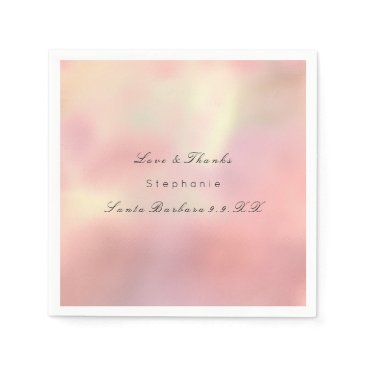 Beach Themed Pearly Rose Gold Ombre Peach Copper Custom Name Paper Napkin