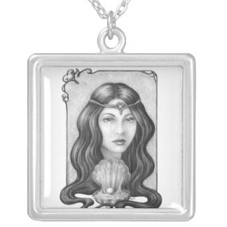 Pearly Tears Square Pendant Necklace