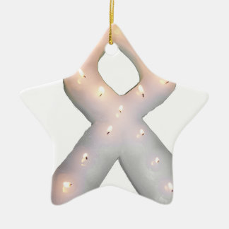 Pearly White Awareness Ribbon Candle Ceramic Ornament