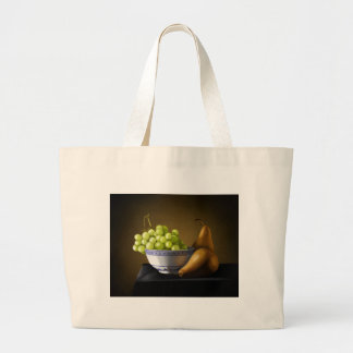 Pears and Grapes Fruit Bowl Still Life Tote Bags