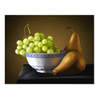 Pears and Grapes Fruit Bowl Still Life Card