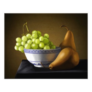 Pears and Grapes Fruit Bowl Still Life Photograph