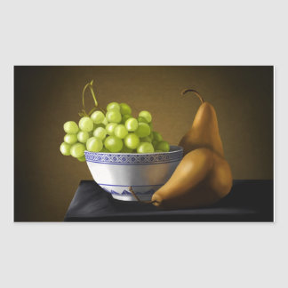 Pears and Grapes Fruit Bowl Still Life Rectangular Sticker
