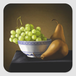 Pears and Grapes Fruit Bowl Still Life Square Sticker