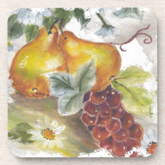 Pears & Grapes Beverage Coasters
