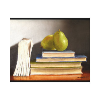 Pears on Books Original Oil Painting Canvas Print