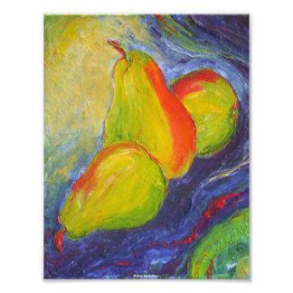 Pears on Dark Blue Background Fine Art Poster Photo Print