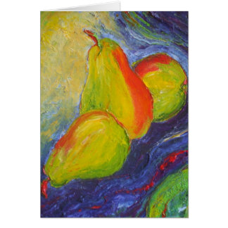 Pears on Deep Blue Background Card