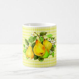 Pears on Yellow Plaid Coffee Mug