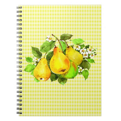 Pears on Yellow Plaid Spiral Notebook