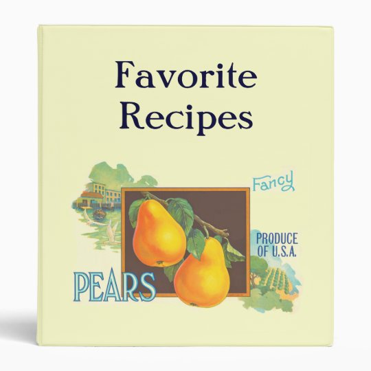 Pears Retro Custom Recipe Organizer 3 Ring Binder