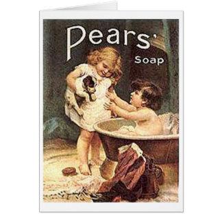 Pears Soap Kids Washing Dog Greeting Card