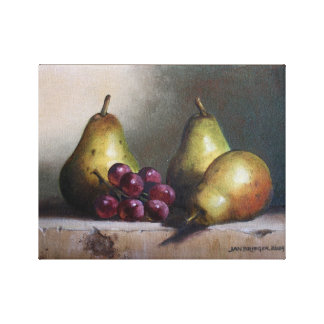 Pears with Grapes Original Oil Painting Canvas Print