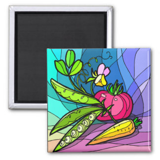 Peas and Parsnips 2 Inch Square Magnet