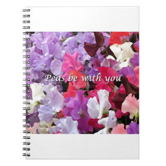 Peas be with you sweet peas spiral notebook