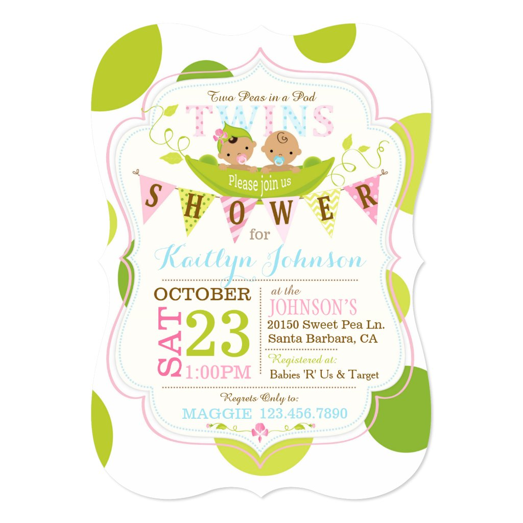 Peas in a Pod Asian Twins Baby Shower Card