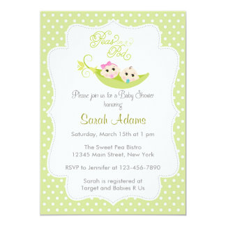 Peas in A Pod Baby Shower Invitation Green