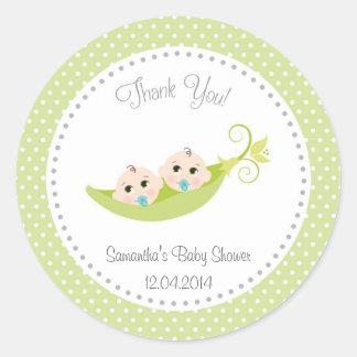 Peas In A Pod Baby Shower Sticker Green