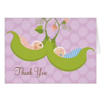 Peas in a Pod Boy Girl Twin Baby Shower Thank You Card