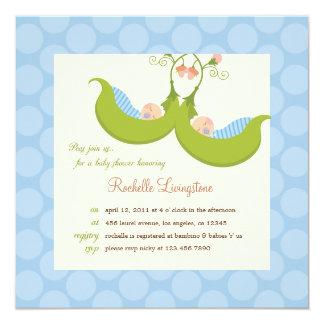 Peas in a Pod Boy Twins Baby Shower Invitation