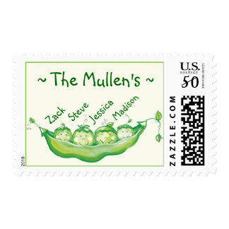 Peas in a pod - family of 4 postage