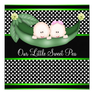 Peas In A Pod Gender Reveal 5.25x5.25 Square Paper Invitation Card