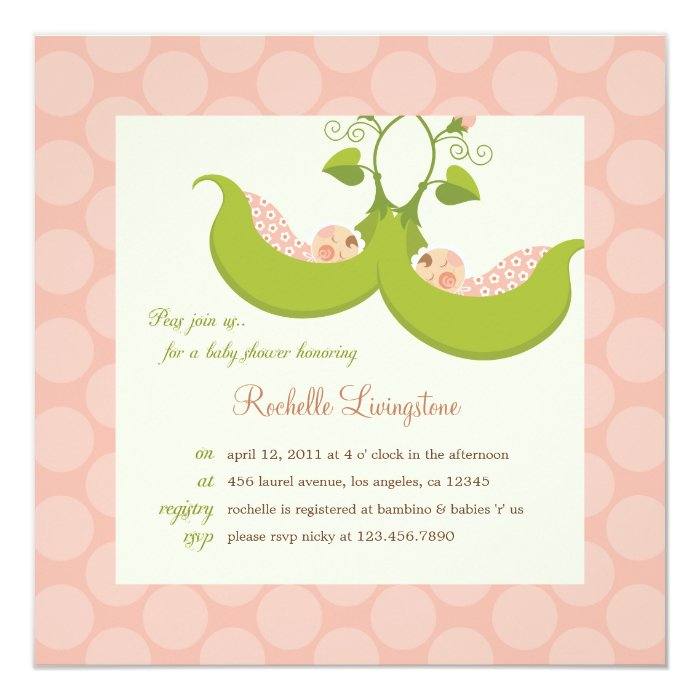 Peas in a Pod Girl Twins Baby Shower Invitation | Zazzle