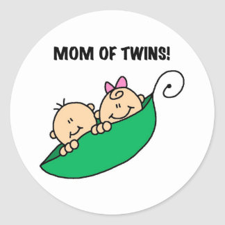 Peas in a Pod Mom of Twins Classic Round Sticker